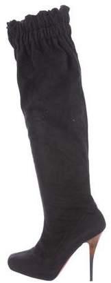 Jean-Michel Cazabat Suede Ruffle Knee-High Boots