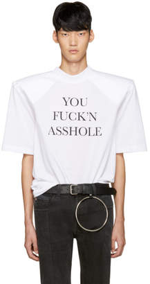 Vetements White You Fuckn Asshole Football Shoulder T-Shirt