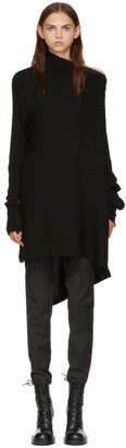 Marques Almeida Black Wool Draped Turtleneck