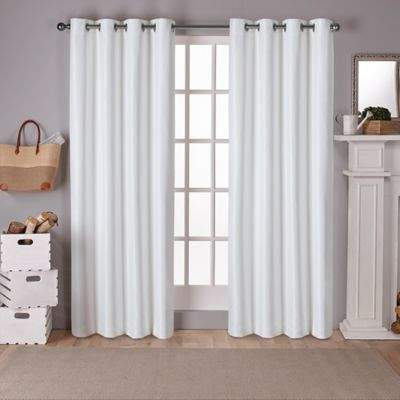 Raw Silk 108-Inch Grommet Top Room Darkening Window Curtain Panel Pair in Off White