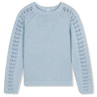 Kid Nation Girls' Crewneck Eyelet-Sleeve Knit Sweater M