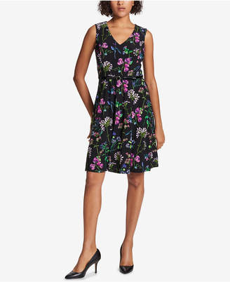 Tommy Hilfiger Belted Floral A-Line Dress