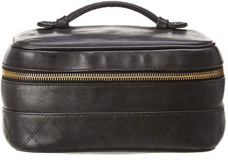 Chanel Black Lambskin Leather Horizontal Cosmetic Case