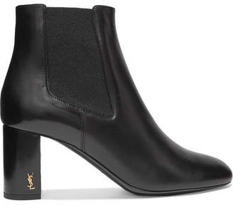 Saint Laurent Loulou Leather Ankle Boots - Black