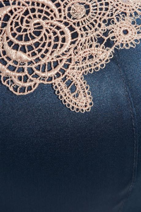 Elle Macpherson Intimates Casablanca lace-appliquéd stretch-silk satin plunge bra