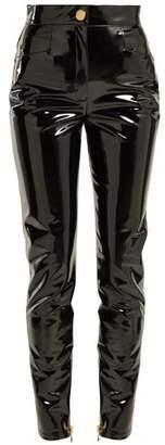 Balmain High Rise Vinyl Trousers - Womens - Black