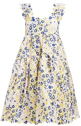 Cecilie Bahnsen - Rue Floral Guipure Lace Knee Length Dress - Womens - White Multi