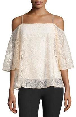Bailey 44 Tusk Cold-Shoulder Floral-Lace Top, Peach $106 thestylecure.com