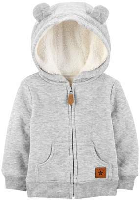 Carter's Simple Joys By Simple Joys by Boys' Hooded Sweater Jacket with Sherpa Lining