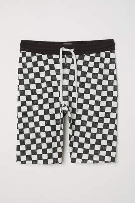 H&M Checked Sweatshorts - White