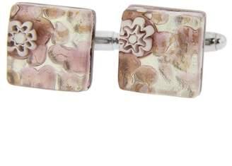 Murano GlassOfVenice Square Glass Cufflinks - Purple Silver