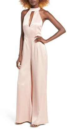 Women's Leith Satin Halter Jumpsuit $85 thestylecure.com