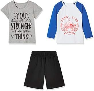 Sprout Star Boy's Crab Club T-Shirts and Shorts 3Pcs Cotton Set-