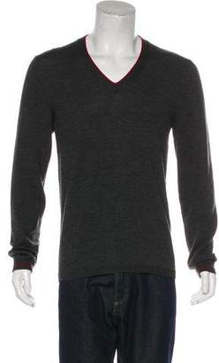 Gucci Wool Web-Trimmed V-Neck Sweater
