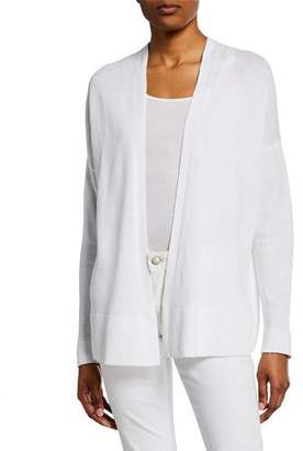 Eileen Fisher Plus Size Organic Linen/Cotton Open-Front Long-Sleeve Cardigan