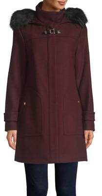 Cole Haan Faux Fur-Trimmed Twill Duffle Coat