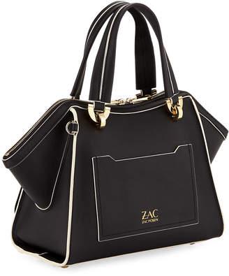 Zac Posen Eartha Small Leather Double-Handle Satchel Bag
