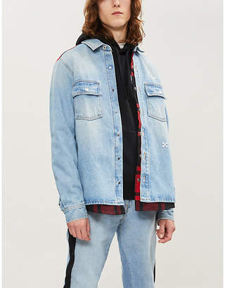 Off-White OFFWHITE Checked-panel regular-fit denim overshirt