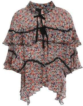 Anna Sui Ruffled Floral-Print Silk-Georgette Blouse