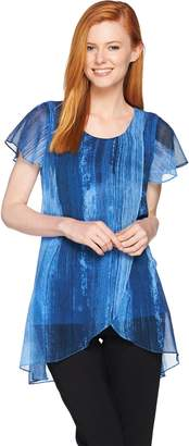 Halston H By H by Short Sleeve Chiffon Overlay Printed Tunic
