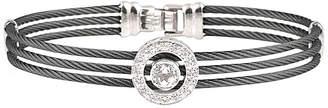 Alor 14K White Gold 0.12 Ct. Tw. Diamond & White Topaz Cable Bracelet