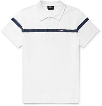 A.P.C. Henri Embroidered Terry-Trimmed Slub Cotton-Jersey Polo Shirt