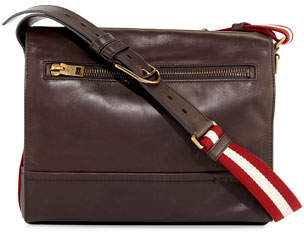 Bally Tamrac Men's Leather Messenger Bag, Brown