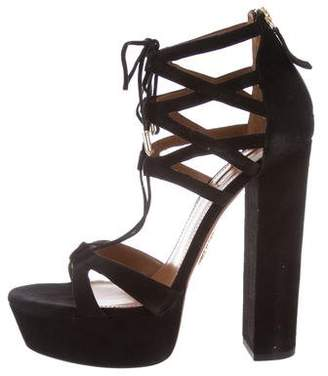 Aquazzura Platform Lace-Up Sandals