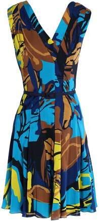 Pleated Printed Silk-Blend Dress