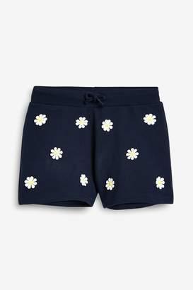 Next Girls Navy Daisy Shorts (3-16yrs) - Blue