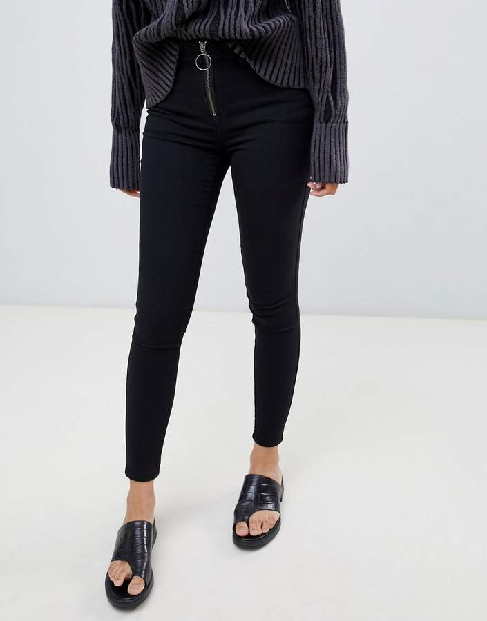rex mid rise skinny jean with exposed zipper