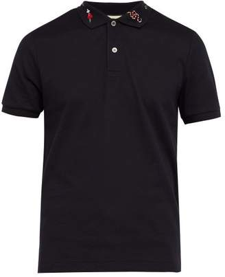 Gucci Multi Symbol Cotton Pique Polo Shirt - Mens - Navy