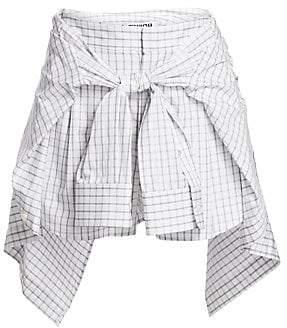 Alexander Wang Women's Grid Poplin Tie-Waist Skort
