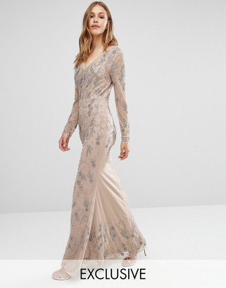 Maya Longsleeve Maxi Dress with Delicate Embellishment and Fishtail $234 thestylecure.com