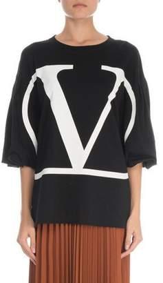 Valentino Puff-Sleeve V-Neck Logo T-Shirt