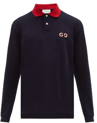 Gucci Gg Embroidered Cotton Blend Polo Shirt - Mens - Navy