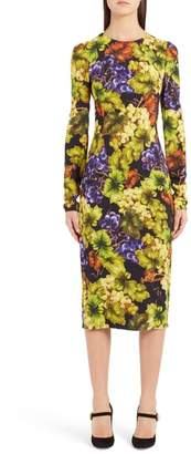 Dolce & Gabbana Grape Print Cady Body-Con Dress