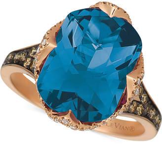 LeVian Le Vian Deep Sea Blue Topaz(6 9/10ct. t.w.), Vanilla Diamonds (1/5ct. t.w.), and Chocolate Diamonds (1/3ct. t.w.) Ring in 14k Strawberry Gold
