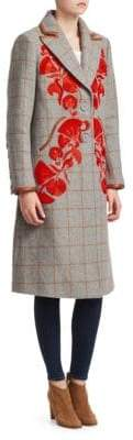 Tanya Taylor Embroidered Plaid Trench Coat