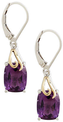 Tag Heuer FINE JEWELLERY Sterling Silver 14K Yellow Gold And Amethyst Drop Earrings
