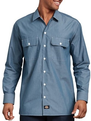 Dickies Big and Tall Men's Relaxed Fit Long Sleeve Chambray Shirt