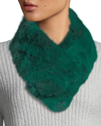 Adrienne Landau Snood Rabbit Fur Clip Scarf