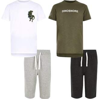 River Island Boys white dinosaur pajama set multipack