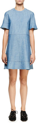 Proenza Schouler Short-Sleeve Chambray Dress, Blue $790 thestylecure.com