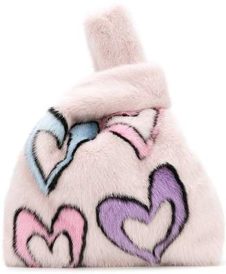Simonetta Ravizza fluffy hearts tote bag