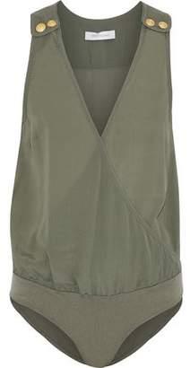 Pierre Balmain Wrap-Effect Button-Detailed Crepe De Chine Bodysuit