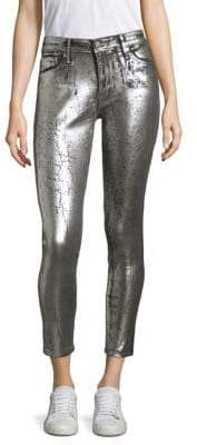 AG Jeans Women's Farrah High-Rise Metallic Jeans - Iced Silver - Size 24 (0)