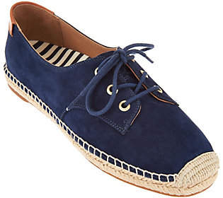 Vionic Orthotic Suede Lace-up Espadrilles -Rayne