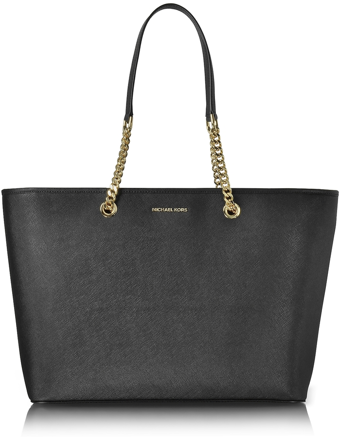 MICHAEL Michael Kors Michael Kors Jet Set Travel Chain Medium Black T/Z Saffiano Leather Multifunction Tote