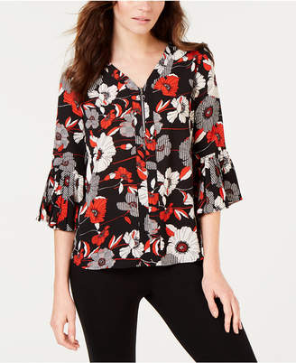 NY Collection Petite Printed Bell-Sleeve Zip-Front Top